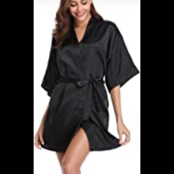 Black satin short robe NWT fits s, m,  l